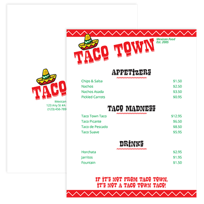 Personalized Taco Town Menu