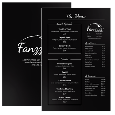 Personalized Continental Menu